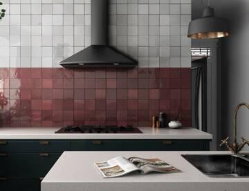 artisan 13.2x13.2 burgundy  white - kitchen
